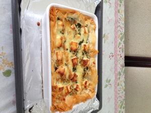 Use barramundi and filo pastry instead of potatoes. Made by Helen.