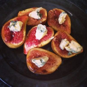 Before grilling blue vein cheese figs
