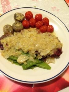 rump, lentil cabbage, snowpea w cheeries tomatoes