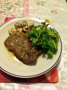 Scotch fillet mushroom salad in org sauce