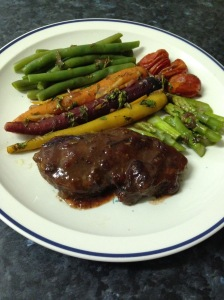 Cranberries bourbon lamb rump w veg in black currants sauce