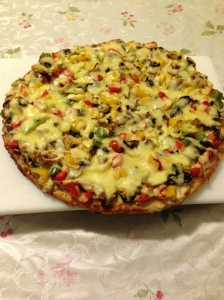 Smoked trout dip based veg pizza