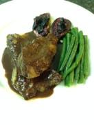 Steak in chocolate sauce w grill figs in blueberrie glaze