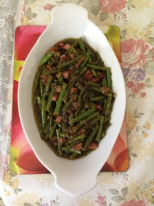 Green beans, preserve olive leave, xmas ham left over w kumquart stir fry - Copy