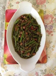 Green beans, preserve olive leave, xmas ham left over w kumquart stir fry - Copy