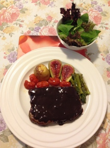 Porterhouse steak,salads vegs in chocolate sauce