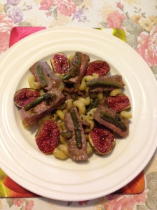 Stir fry green beans kumquat jam,baked figs serve w porterhouse sliced macaroni