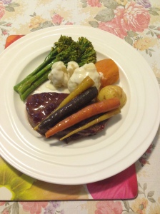 Bourbon cranberries lamb leg steak w vegs