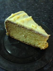 White chocolate cake cut up
