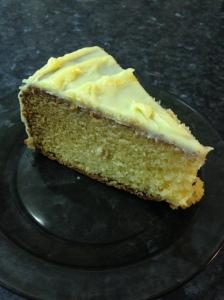 White chocolate cake cut up