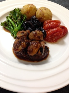 fillet beef, potatoes,prune cherries brocollini in mushroom garlic chili black bean oil