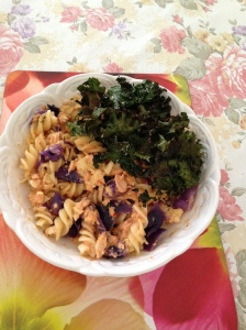 Sweet chilli salmon pasta, red cabbage served with kale chips