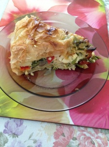 Broccollini eggplant capsicum pie cut up