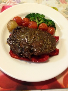 Scoth fillet with roasted vegs and broccolli