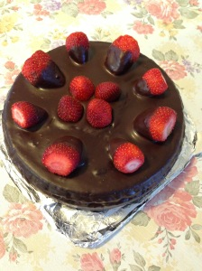 Strawberries chocolate cake