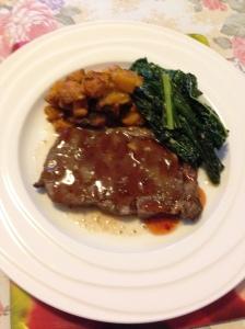 Mustard Scotch fillet, roasted pumpkin and Tuscan kale