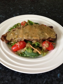 rump steak on a bed of salads with figs, nectarines and herbs sauce.jpg