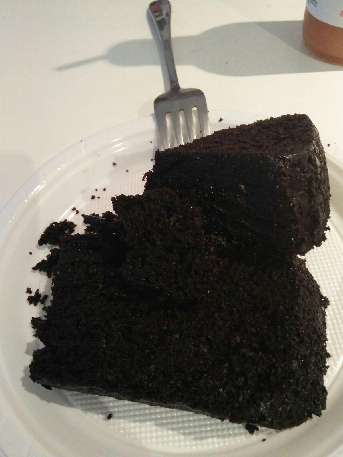Burnt choco coffee cake cut up