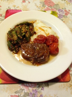 Rib eye and cherries roast, okra and fried egg.jpg