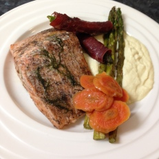 Baked salmon twoways asparagus, boil carrots served with fennel and cauliflower puree.jpg