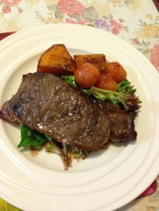 Porterhouse steak, roasted pumpkin, cherries tomatoes and salads.jpg