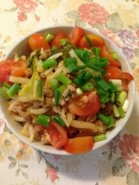 Rice drops pork minced and vegetables noodles.jpg