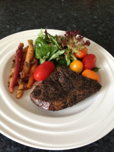 Green tea rump, carrots mix in burnt org sauce w salads