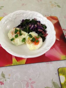 Porched eggs, cabbage,bacon, kale mustard in triffle oil