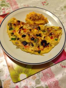 Tortilla egg custard, chilli mushroom w cheese pumpkin mashed