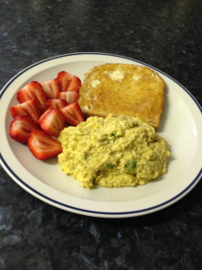 Green eggs strawberries w toast