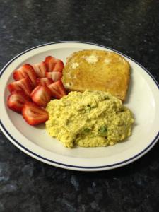 Green eggs strawberries w toast
