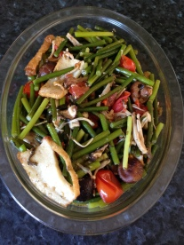 Stir fry garlic stems with mix mushroom and fish cake.JPG