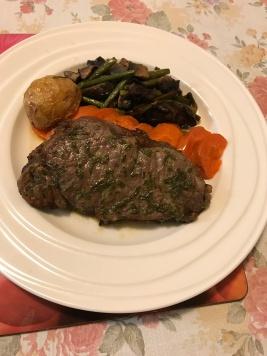 Porterhouse steak, roasted potatoes, eggplants and mushrooms with steam carrots.JPG