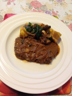 Slow cooking scotch fillet with squash mushroom and spinach.JPG