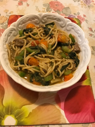 Beef eye and vegetables spaghetti in stock pot sauce.JPG