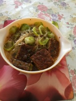 Brussel sprouts pork and veal minced slices noodle soup.JPG