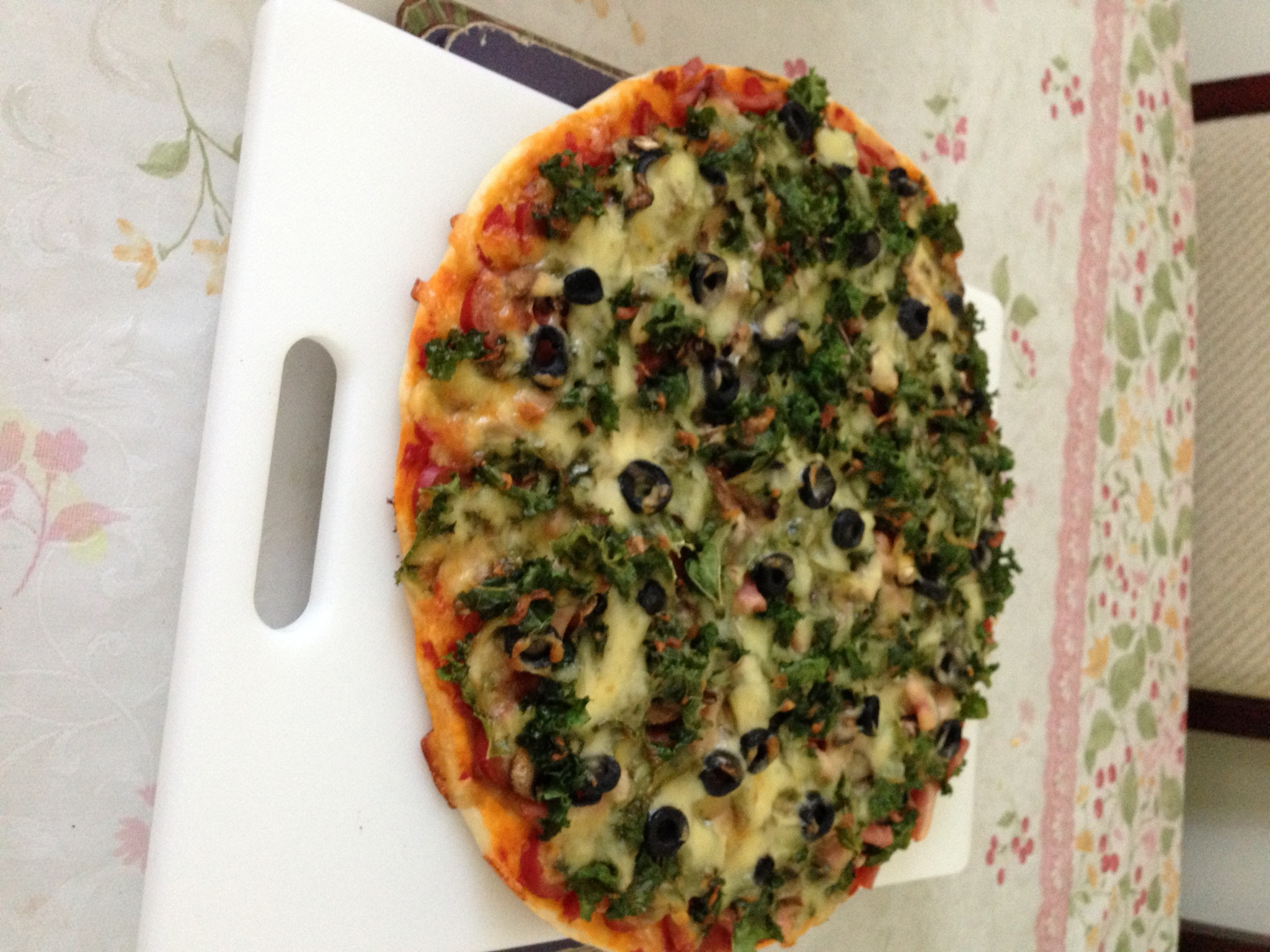 Anchovy mushrooms olive onions kale pizza