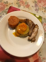 Cloud egg w chicken and sweet potato