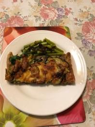 Garlic sticks Parmesan tart with spinach mushrooms and sundried tomatoes cut up plus garlic sticks with XO sauce.JPG