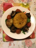 Chicken burger roasted mushrooms and  tomatoes on a bed of salads.JPG