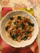 egg noodles, salmon and mushrooms pasta