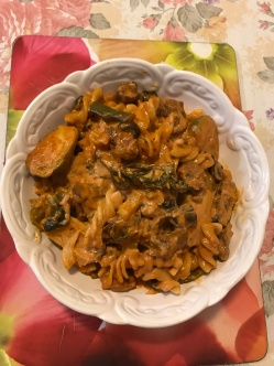 Lamb rumps and vegetables pasta w tomato and extra hot chilli cream sauce.jpg