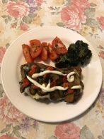 Pork scotch fillet open sandwich with kale chips and tomatoes.jpg