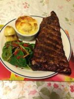 Char grill dry to serve with potatoes two ways and salad with sweet chili sauce. Made by Helen.