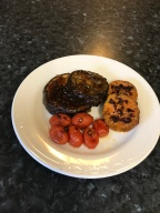 Eggplant steaks with cherries tomatoes and sweet potatoes.JPG