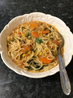 Egg vermicelli noodles with vegetables on plate.JPG