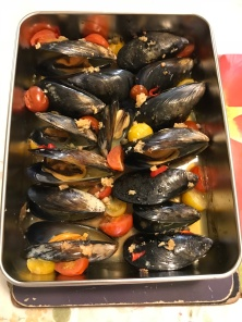 Baked mussels,capers, cherries.JPG