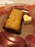Carrot and orange yoghurt cake cut up with white chocolate.JPG