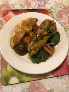 Sous vide chicken stuffed roasted pumpkins tomatoes on a bed of mixed salad.JPG