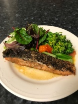 Grill cayanne salmon and salad with boiled brocollini.JPG